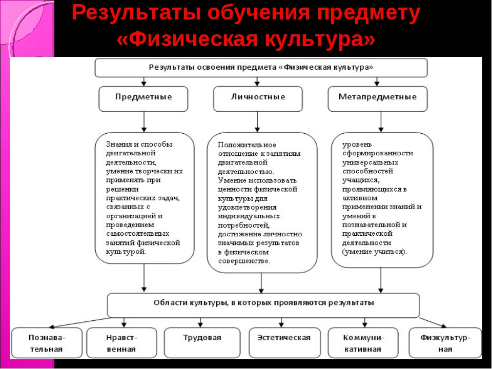 Результаты обучения предмету «Физическая культура»