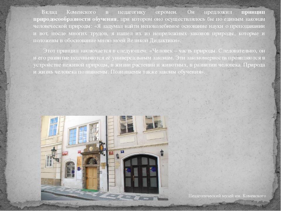 Вклад Коменского в педагогику огромен. Он предложил принцип природосообразн...