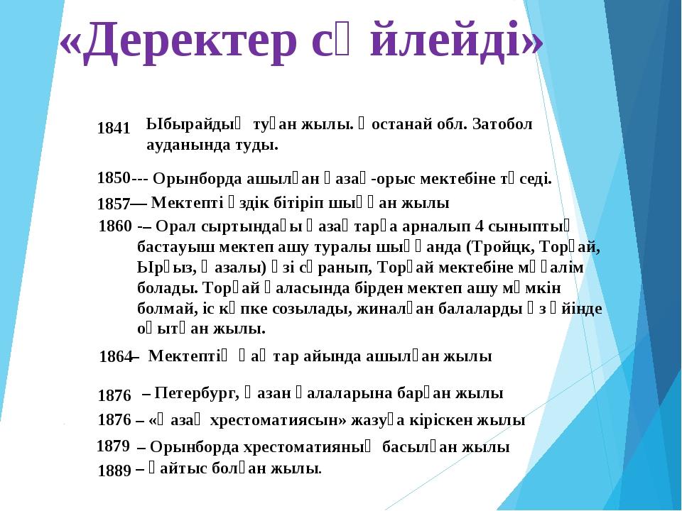 «Деректер сөйлейді» 1841 1850 1857 1860 1864 1876 1876 1879 1889 Ыбырайдың ту...