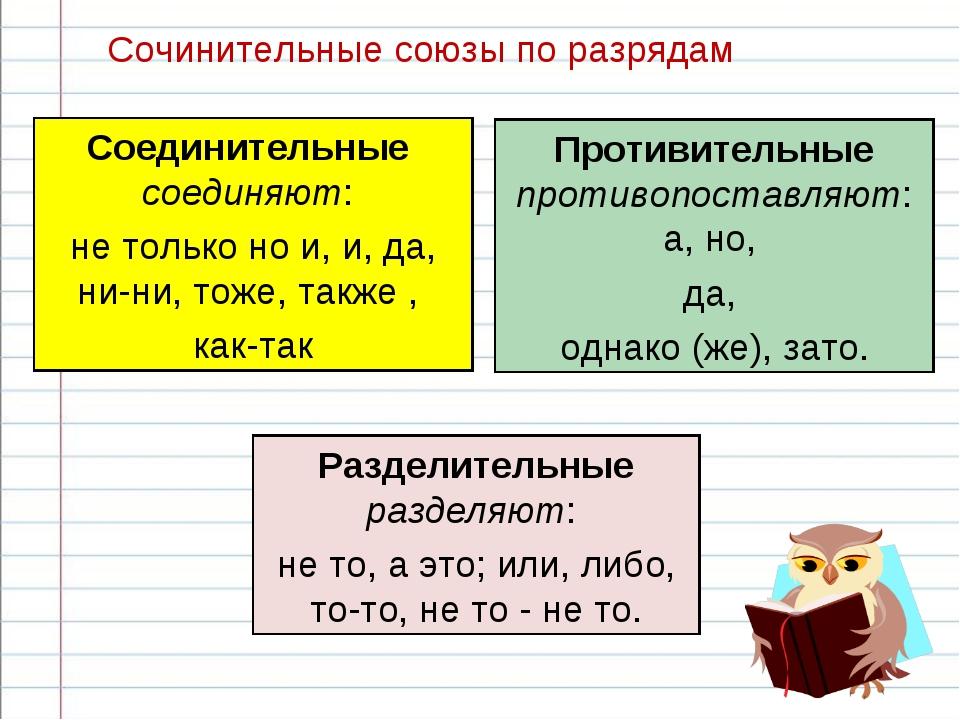 Сочинительные союзы по разрядам Соединительные соединяют: не только но и, и,...