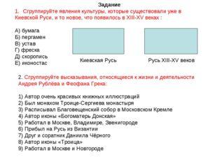 Задание Сгруппируйте явления культуры, которые существовали уже в Киевской Ру