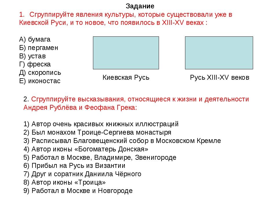Задание Сгруппируйте явления культуры, которые существовали уже в Киевской Ру...