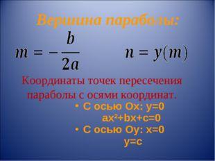 Вершина параболы: Координаты точек пересечения параболы с осями координат. С