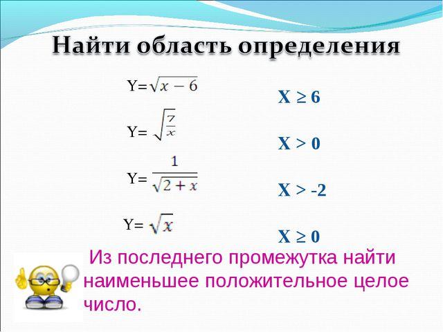 Из последнего промежутка найти наименьшее положительное целое число. Y= Y= Y...