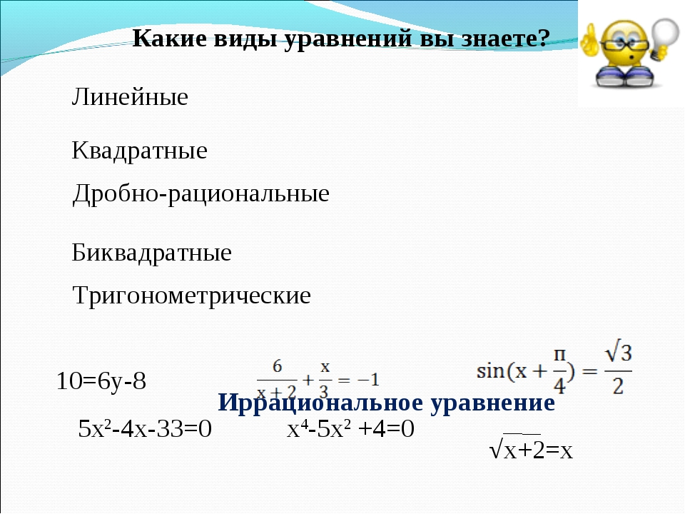 Линейные Квадратные Дробно-рациональные Биквадратные Тригонометрические 10=6у...