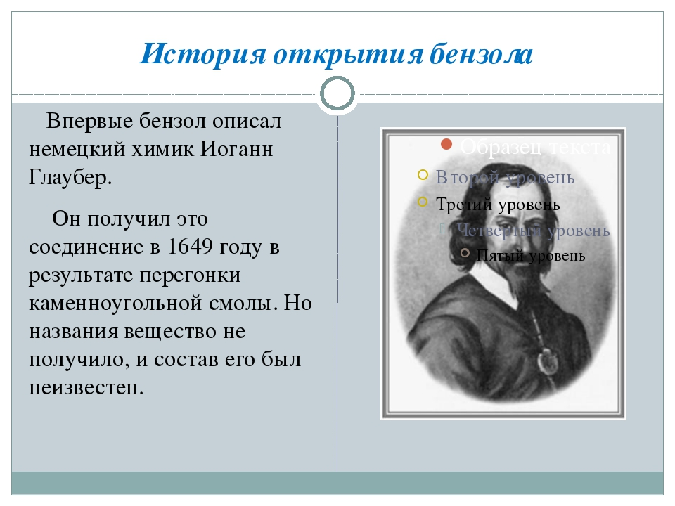 История открытия бензола Впервые бензол описал немецкий химик Иоганн Глаубер....