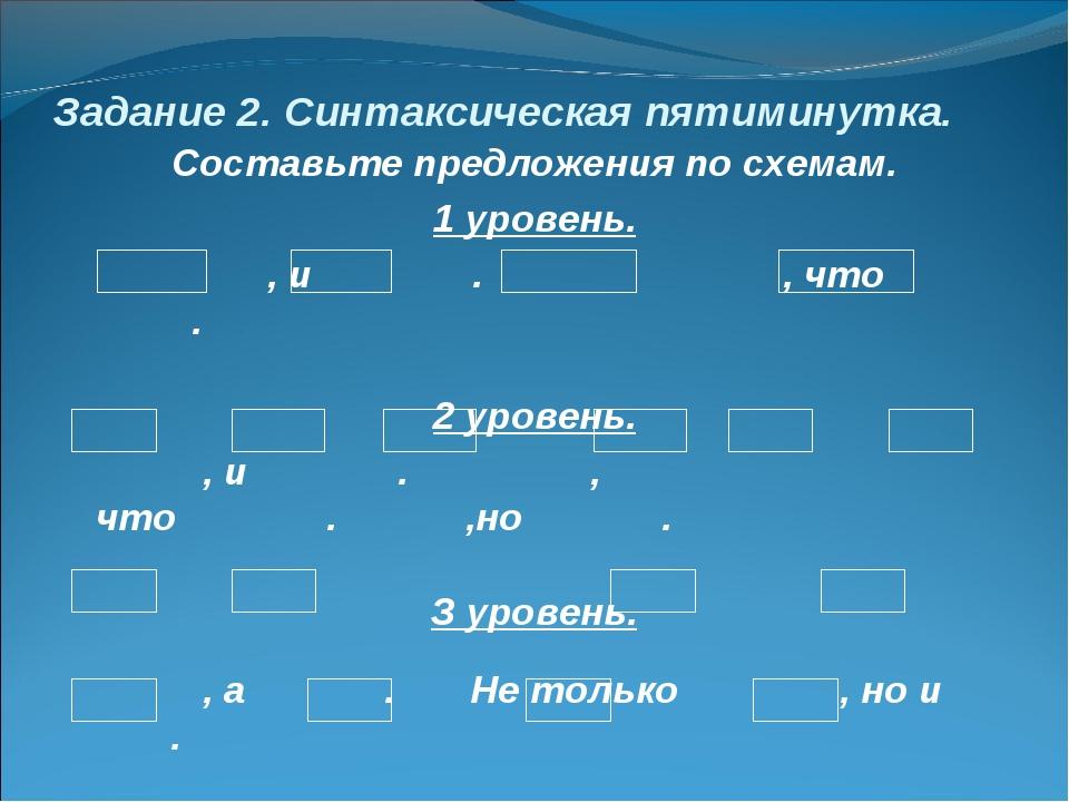 Задание 2. Синтаксическая пятиминутка. Составьте предложения по схемам. 1 уро...