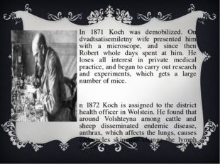 In 1871 Koch was demobilized. On dvadtsatisemiletny wife presented him with