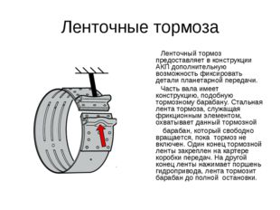 Ленточные тормоза Ленточный тормоз предоставляет в конструкции АКП дополнител