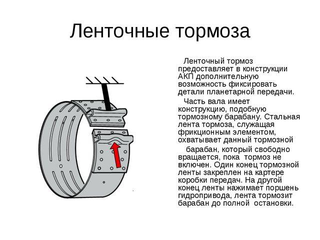Ленточные тормоза Ленточный тормоз предоставляет в конструкции АКП дополнител...