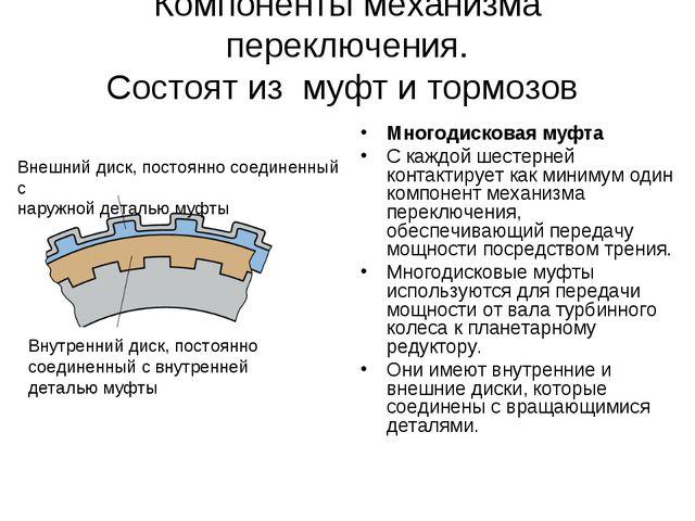 Компоненты механизма переключения. Состоят из муфт и тормозов Многодисковая м...