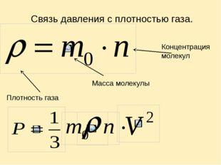 Связь давления с плотностью газа. Плотность газа Концентрация молекул Масса м
