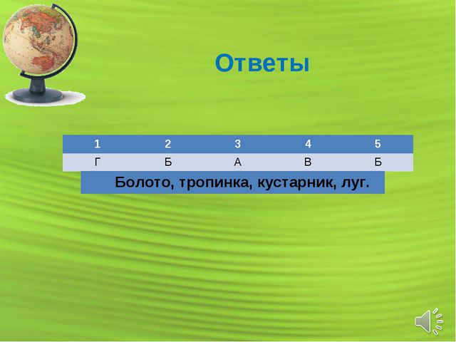 Ответы 12345 ГБАВБ Болото, тропинка, кустарник, луг.