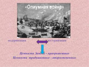 «Опиумная война» модернизация вестернизация Ценности Запада – приоритетные Це