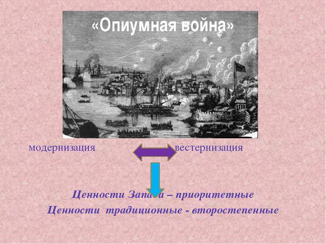 «Опиумная война» модернизация вестернизация Ценности Запада – приоритетные Це...