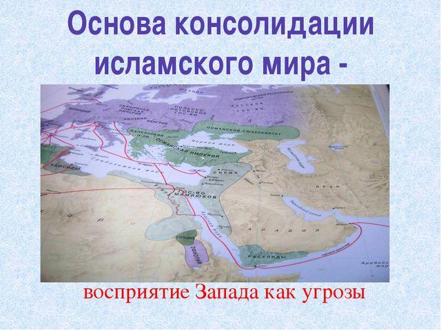 Основа консолидации исламского мира - восприятие Запада как угрозы