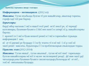 Проектны тормышка ашыру этаплары: Информацион – мотивацияле. (2012 ел) Макса