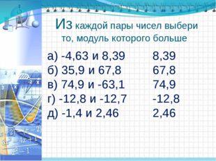 Из каждой пары чисел выбери то, модуль которого больше а) -4,63 и 8,39 б) 35