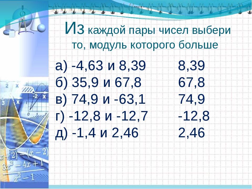 Из каждой пары чисел выбери то, модуль которого больше а) -4,63 и 8,39 б) 35...