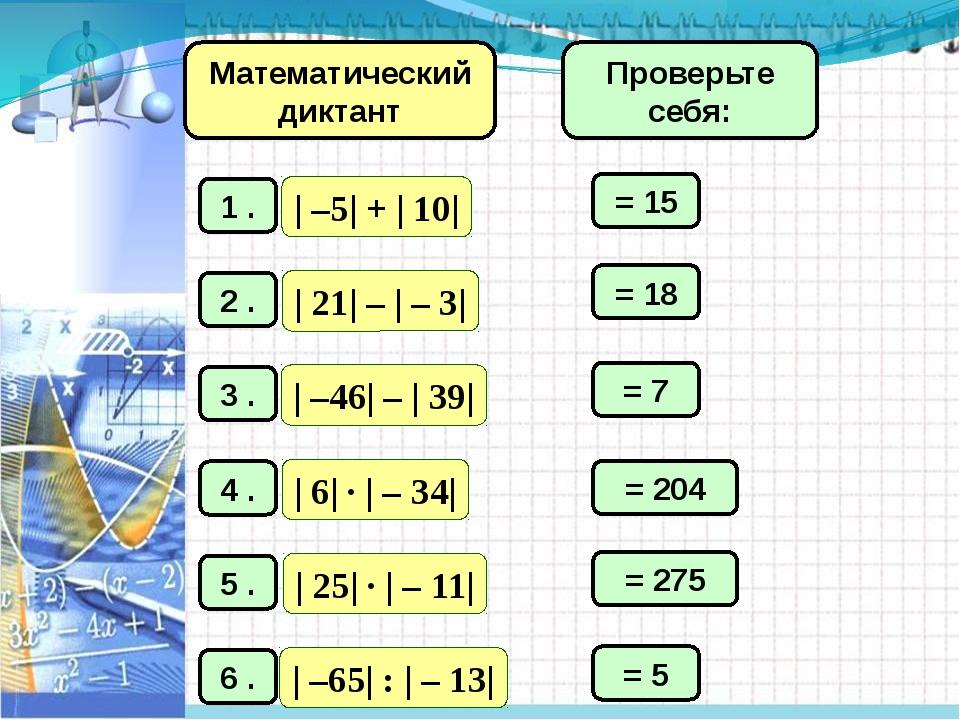 Математический диктант = 15 = 18 = 7 = 204 = 275 = 5 Проверьте себя: ГОБУ ВО...