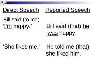Direct Speech Reported Speech Bill said (to me), 'I'm happy.' Bill said (that