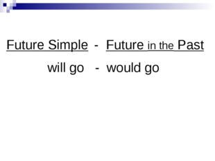 Future Simple - Future in the Past will go - would go