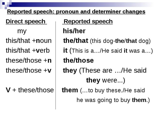 Reported speech: pronoun and determiner changes Direct speech Reported speech...