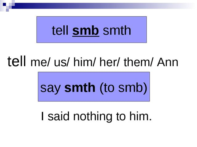 tell me/ us/ him/ her/ them/ Ann I said nothing to him. say smth (to smb) te...