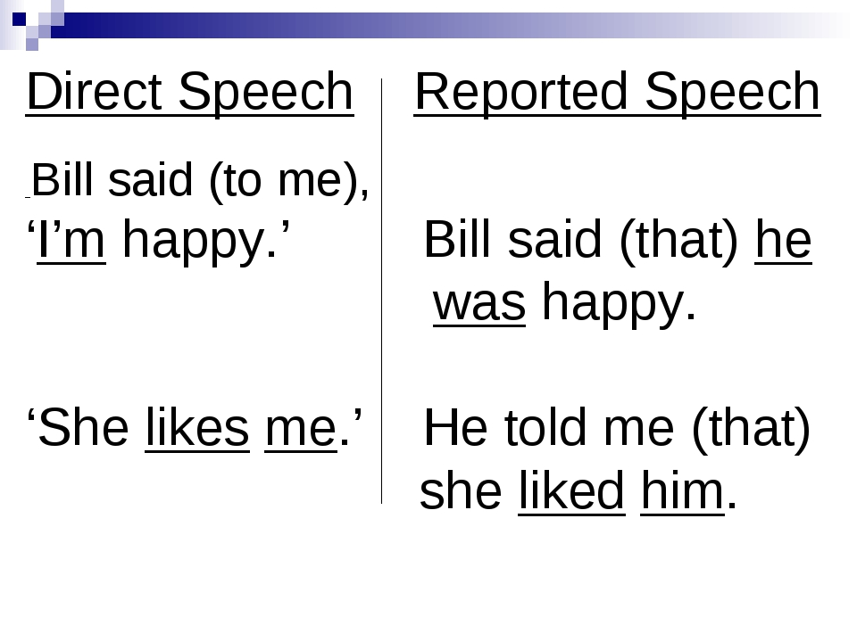 Direct Speech Reported Speech Bill said (to me), 'I'm happy.' Bill said (that...