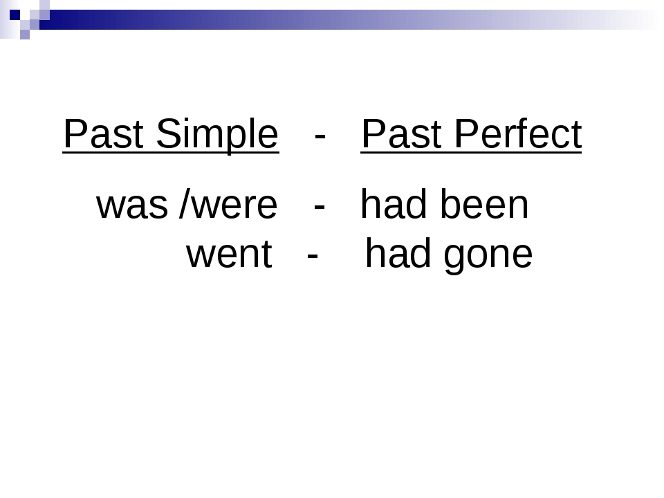 Past Simple - Past Perfect was /were - had been went - had gone