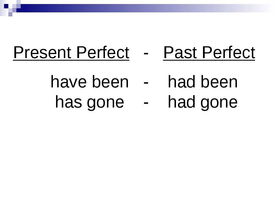 Present Perfect - Past Perfect have been - had been has gone - had gone