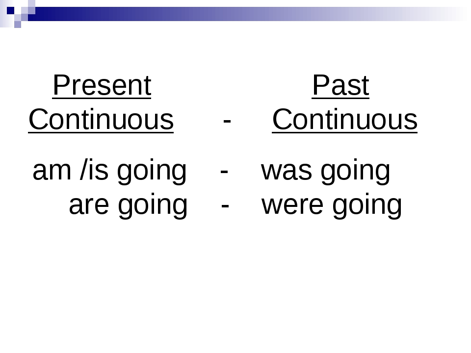 Present Past Continuous - Continuous am /is going - was going are going - we...