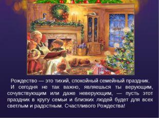 Рождество — это тихий, спокойный семейный праздник. И сегодня не так важно, я
