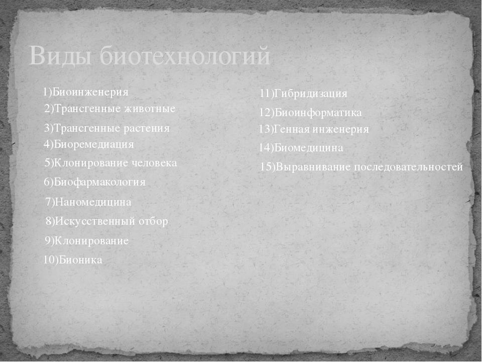Виды биотехнологий 1)Биоинженерия 14)Биомедицина 7)Наномедицина 6)Биофармакол...