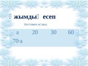 Ұжымдық есеп Кестемен жұмыс а 20 30 60 70∙а