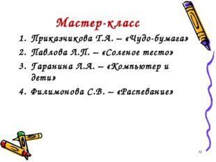 Мастер-класс Приказчикова Т.А. – «Чудо-бумага» Павлова Л.П. – «Соленое тесто»