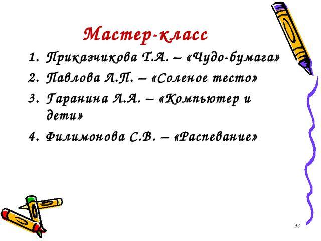 Мастер-класс Приказчикова Т.А. – «Чудо-бумага» Павлова Л.П. – «Соленое тесто»...