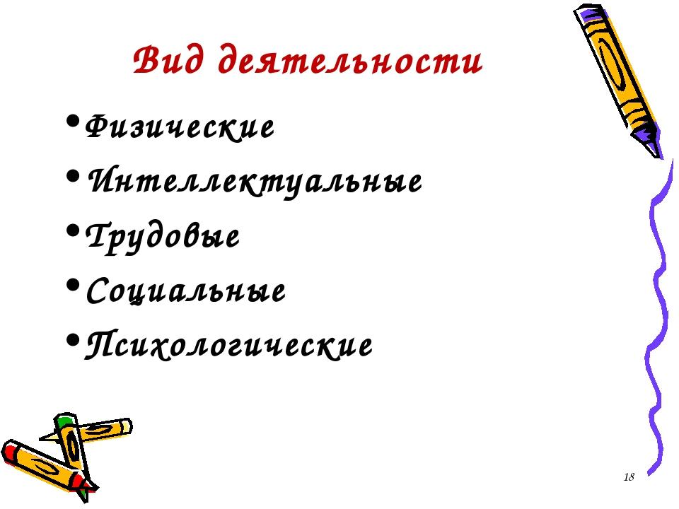 Вид деятельности Физические Интеллектуальные Трудовые Социальные Психологичес...