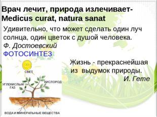 Врачлечит,природаизлечивает- Medicus curat, natura sanat Удивительно, что