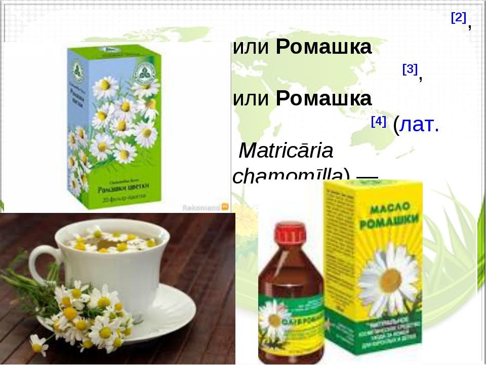 Рома́шка апте́чная[2], илиРомашка лека́рственная[3], илиРомашка обо́дранная...