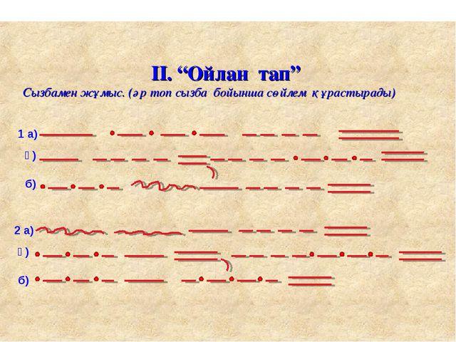 """Буынның неше түрі бар. 1 а) ә) б) 2 а) ә) б) ІІ. """"Ойлан тап"""" Сызбамен жұмыс...."""
