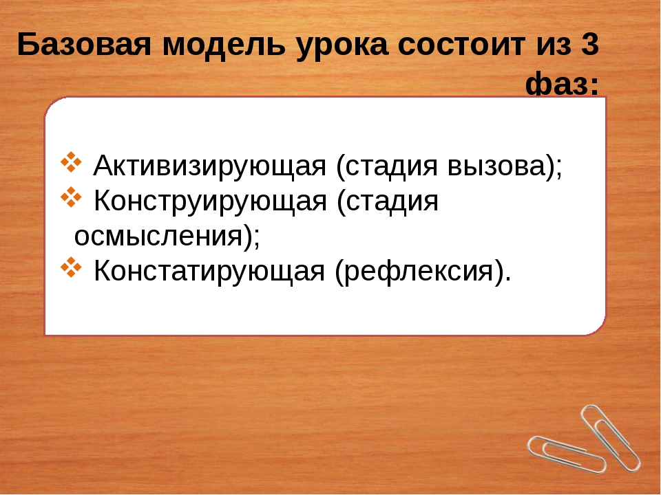 Базовая модель урока состоит из 3 фаз: Активизирующая (стадия вызова); Констр...