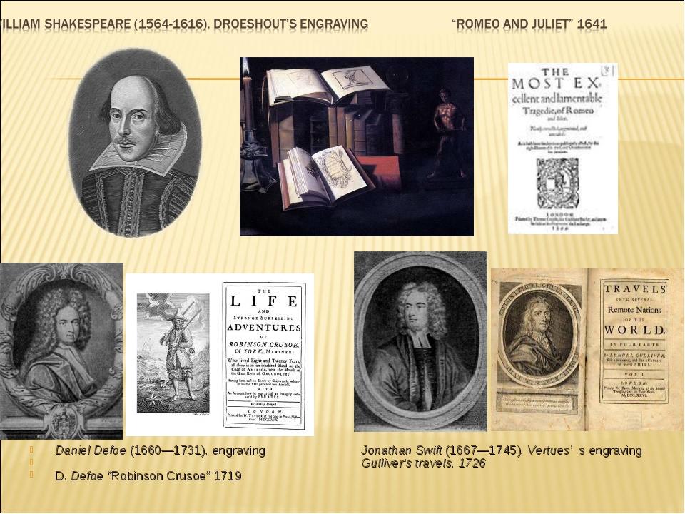"Daniel Defoe (1660—1731). engraving D. Defoe ""Robinson Crusoe"" 1719 Jonathan..."