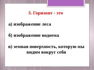3. Горизонт - это а) изображение леса б) изображение водоема в) земная пове