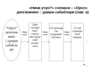 * * «Нима учун?» схемаси – «Орол» денгизининг қуриши сабаблари (лавҳа)