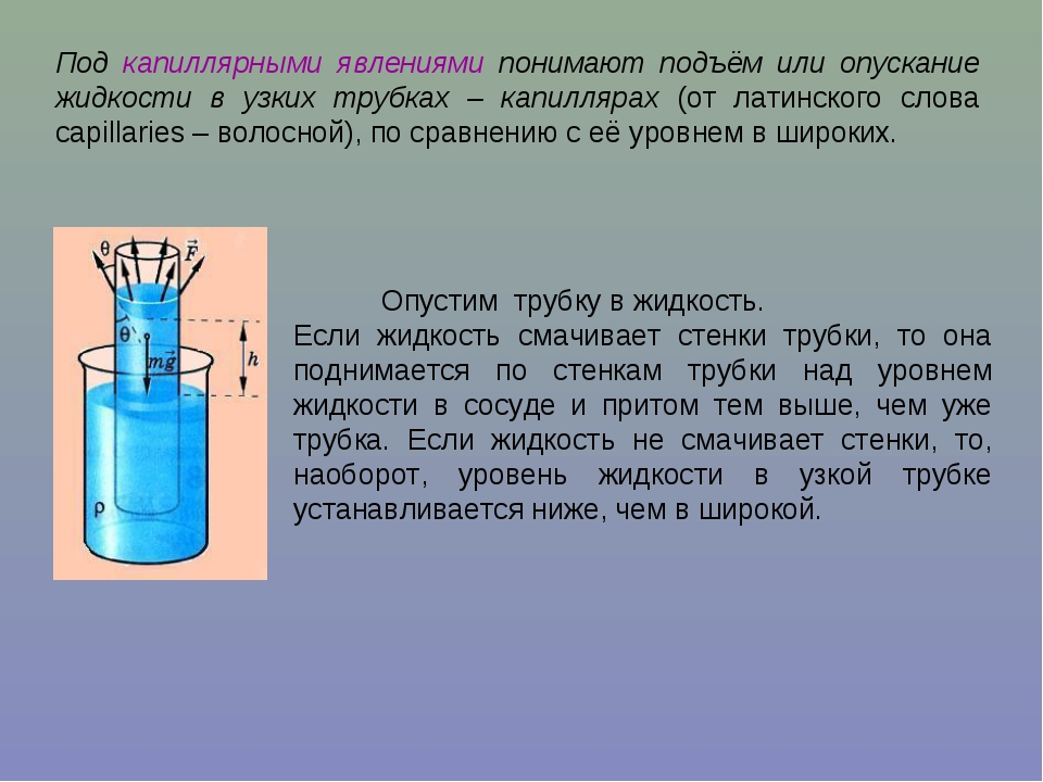 Под капиллярными явлениями понимают подъём или опускание жидкости в узких тру...