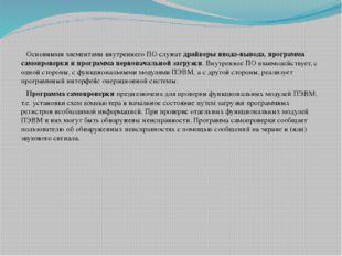 Основными элементами внутреннего ПО служатдрайверы ввода-вывода, программа