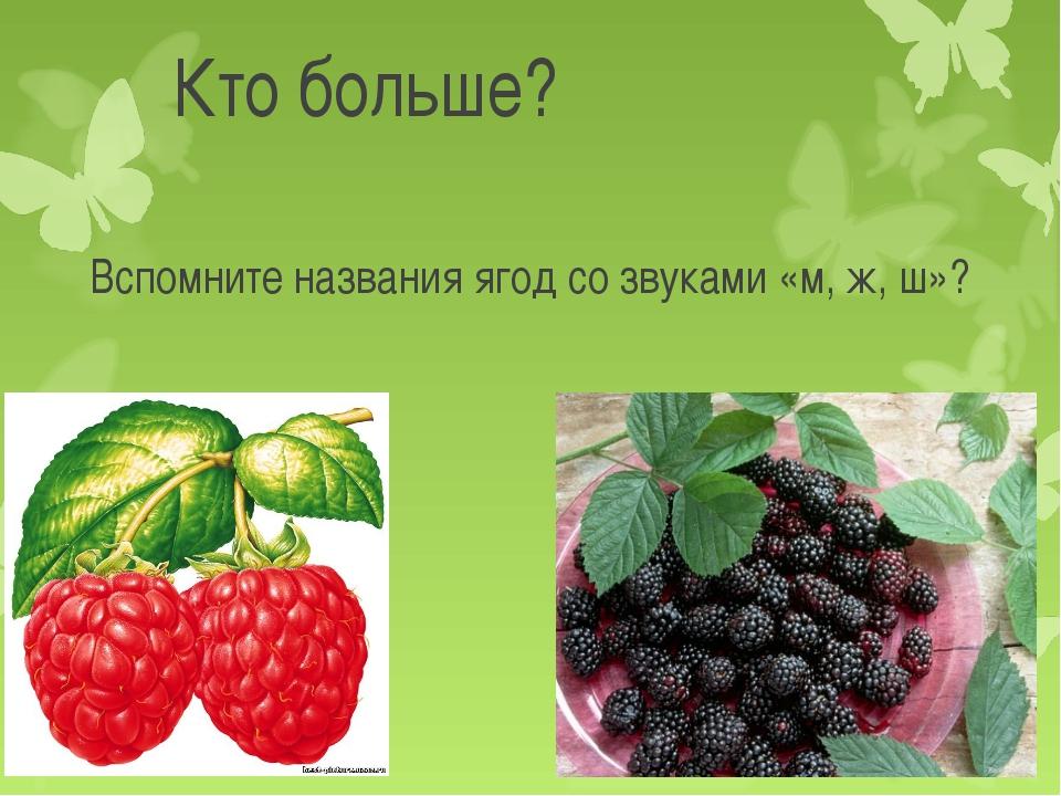 Кто больше? Вспомните названия ягод со звуками «м, ж, ш»?