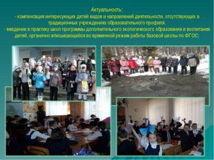 Актуальность: - компенсация интересующих детей видов и направлений деятельнос