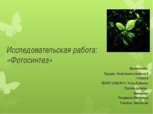 Выполнила: Трудик Анастасия ученица 6 г класса МАОУ СОШ №2 г Усть-Лабинск Ру